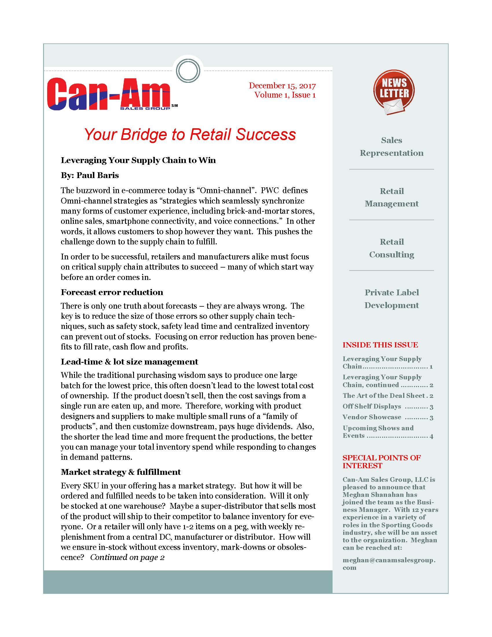 CanAm Newsletter Volume 1, Page 1