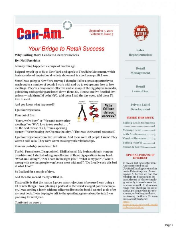 Can-Am Sales Group Newsletter Vol2-3-page 1